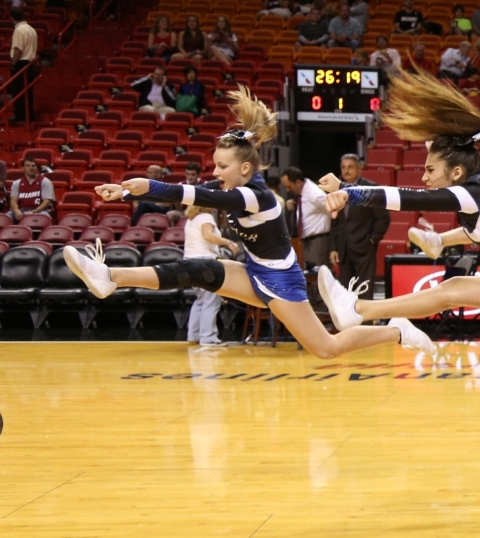 @savannah_hastings cheering @American Airlines Arena for the Miami Heat game December 2013 with the Mcgregor All-stars Might MACS